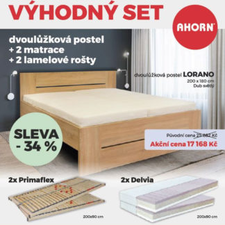 Ahorn Postel Lorano 180x200 dub světlý + rošty Primaflex + matrace Delvia - AKČNÍ SET